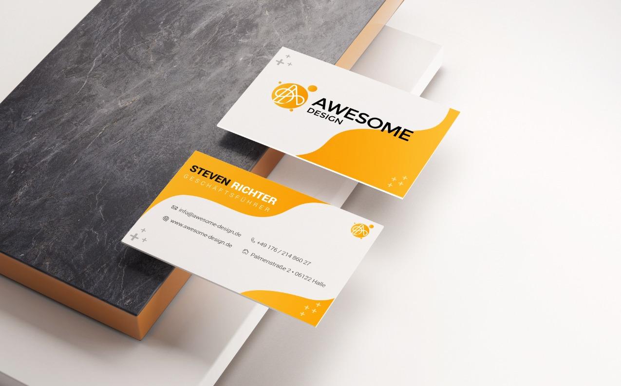 Awesome Design Visitenkarten / Printproduktion